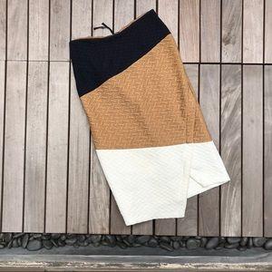 HD in PARIS Navy White Tan High Waisted Midi Skirt